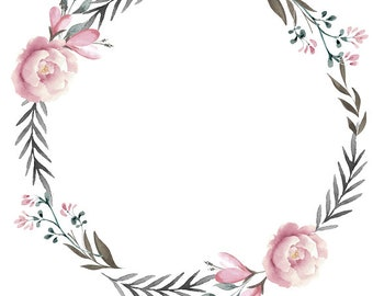 Minimalist Wreaths Pink Gray Clipart Leafy Wreath Leaves and Flowers Minimalist Clipart