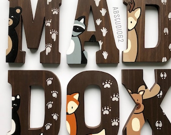 Wooden Letters for Nursery, Woodland Nursery Decor, Hand Painted Wood Letters, Woodland Creatures, Free Standing Letters, Nursery  Fox Deer