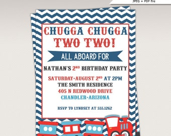 Choo Choo Train Birthday Party printable invitation - Chugga Chugga Train Birthday Party Invite #457