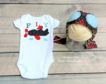 Aviator inspired Outfit with Jersey Aviator Hat and Bodysuit, Plane Pilot inspired Hat and one piece babyshower gift, aviator baby apparel
