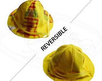 Madras baby hat, newborn yellow hat, baby summer hat, hat with yellow ribbon, CEB003