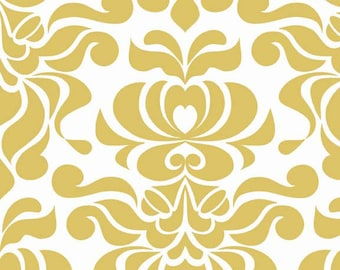 Valencia Damask by Lila Tueller and Riley Blake Designs Damask Yellow 1/2 yard
