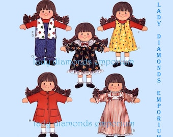 """Butterick 3668 Doll & Clothes + Carry Case with Bed, 11 1/2"""" Doll, Great Christmas Present Gift for Children Vintage Sewing Pattern Uncut FF"""