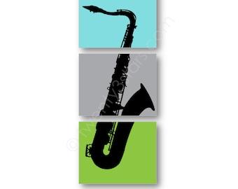 Saxophone Trio Poster, Saxophone Triptych Art, Gift for Sax Player, Saxophonist Gift, Saxophone Canvas, Sax Player Art Prints, Saxophone Art