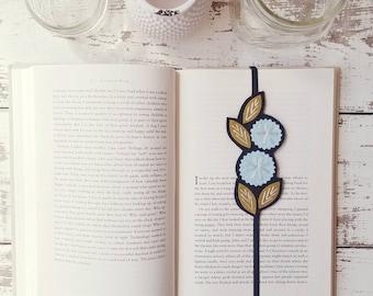 Flower Bookmark  - Booklover Gift - Reader Gift - Unique Bookmark - Bookband - Planner Band - Blue Bookmark - Gift for Friend
