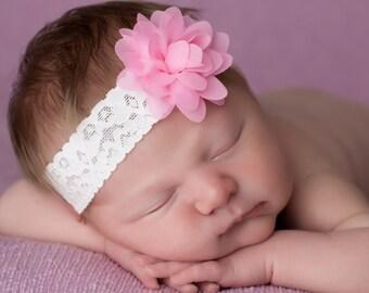 Pink Flower Headband, Pink Baby Headband, Pink Newborn Headband, Newborn Headbands, Baby Headbands, Photography Props
