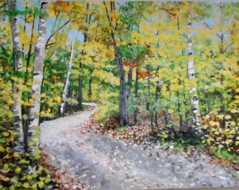Original Artwork Woodland Path 10 X 14 inches acrylic painting