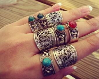 Bohemian jewelry- Stacking ring-  Adjustable Tibetan Silver Filigree Amulet Ring- Tibetan Mantra Ring- Buddhist jewelry- Tribal ethnic Rings