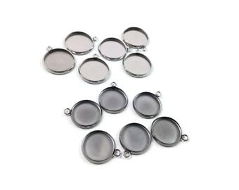 Stainless steel silver round pendant tray with loop - Cabochon setting blank bezel pendant base 14 or 16 mm
