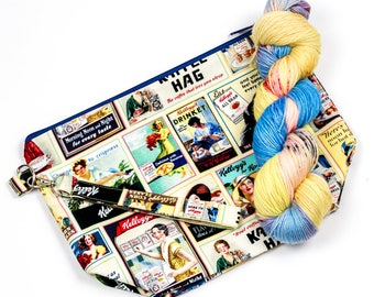 """PRE0RDER--""""Cereal Knitter""""--Project bag and matching yarn kit"""