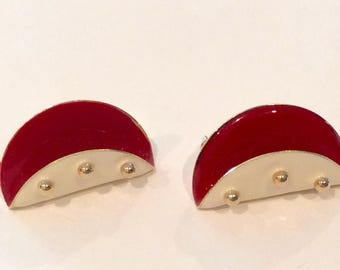 Red and white Enamel with Gold Beads Stud Earrings, Half circle, Folded, Taco shaped, Summer fashion earrings, Baked on Enamel, Modern
