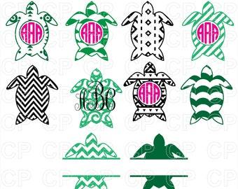 Sea Turtle SVG Cut Files, Turtle Clipart, Bundle Svg, Turtle Monogram Frames Cut Files for Cricut, Silhouette Studio_Digital Download