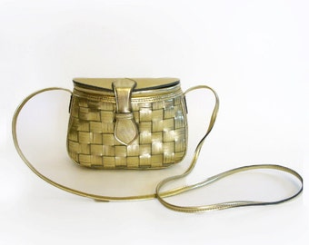 Vintage 1980s Metallic Gold Basket Style Crossbody Bag