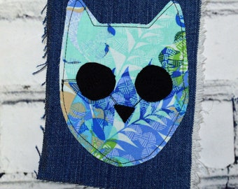 Upcycled Reclaimed Denim and Fabric Zombie Cat Riot Vest Applique Patch Handmade