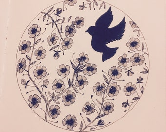 Peace Dove Wall Art Print of Original Ink Drawing - Limited Edition Signed Illustration