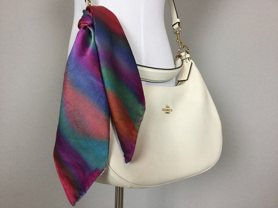 """Hand Painted Silk 20"""" Purse Scarf or Luggage Identifier, Silk Painted abstract Rainbow Red Blue Green Purple Purse Scarves #208"""