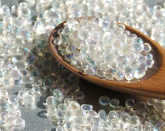 20g - No Hole Pebble Glass Beads (1.0-3.0mm) - iridescent clear - ABcolor
