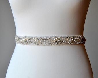 "18"" Wedding Dress Sash Belt, Luxury Crystal Bridal Sash, Rhinestone Sash,Pearls Rhinestone Bridal Bridesmaid Sash Belt, Wedding dress sash"