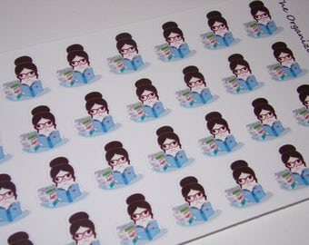 32 Reading Girl Stickers / Book Stickers / Study Stickers / School Stickers / Great for your Erin Condren Life Planner