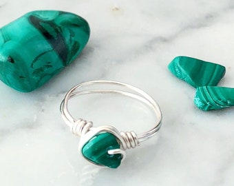 Malachite Ring • Silver or Gold Wire • Wire wrapped ring • Gemstone ring • Boho ring • Protection ring