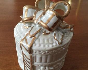 ON SALE Gift Box Trinket Box Dresser Box Ceramic White Gold Ceramic Bow Never Used Mid Century