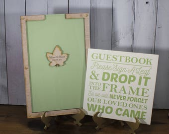 Personalized Wedding Guest Book Set-Stationary Leaf-Leaves-Pale Green
