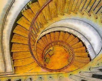 Masterpiece Stairs: A Fine Art Photo Watercolor/Illustration Print Created in Rural Kentucky of a Wooden Spiral Staircase