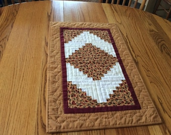 Gold Log Cabin Wall Hanging / Table Runner