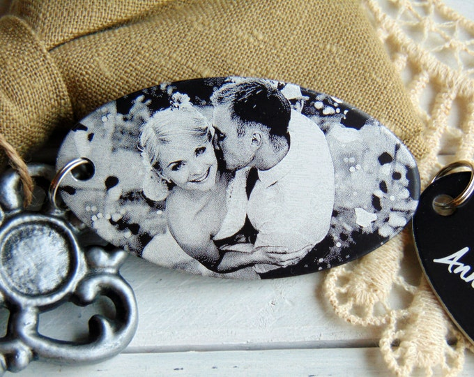 Anniversary Photo Keychain-Back Engraving-Your Handwriting Option- Black Aluminum Custom Key Chain - Laser Engraved- Wedding Gifts & Favors