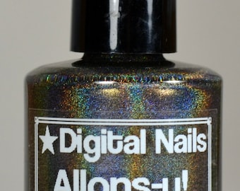 Allons-y; a deep charcoal SUPER holo with golden flashes inspired by The Tenth Doctor by Digital Nails