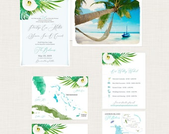 Bahamas Destination wedding invitation Bahamas Tropical Beach illustrated watercolor invitation Andros Island Wedding Deposit Payment