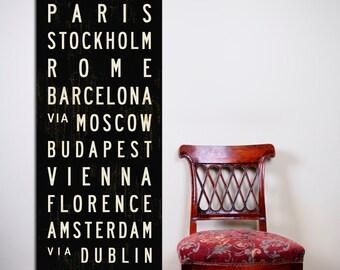 EUROPE SUBWAY SIGN, Decorative Wall Art, Subway Art Print, European Wall Decor, Living Room Art, Rustic Wall Art, Travel Lover Gift. 20x60