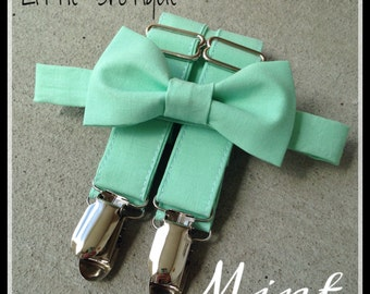 Mint Bow Tie and Suspender Set for Babies, toddlers, boys, and men. Sent 1-3 business days after you order.
