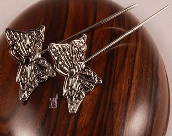 10 patterns 58mm silver plated brass Butterfly hair pins
