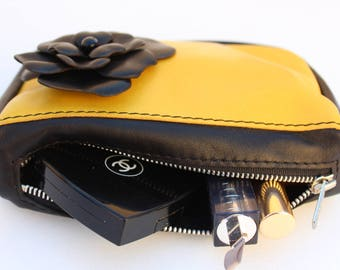 Leather makeup bag, Cosmetic bag leather, Cosmetic organizer leather, Leather makeup case, Leather clutch, Leather pouch, Cosmetic case