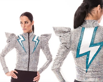 Lightning Bolt Jacket, Silver, Futuristic Jacket, David Bowie, Stage Wear, Glam Rock, Holographic Clothing, Futuristic Clothing, LENA QUIST
