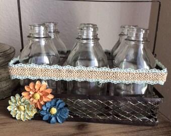 Farm House, Milk Jars, Glass Milk Jars, Wire Basket, Flowers, Lace