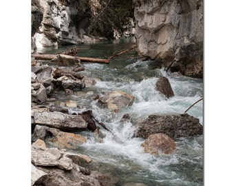 Lake House Wall Art, Rock Print, Canadian Landscape, River Photography, Lodge Chic, Bathroom Picture, Johnston Canyon, Masculine Bedroom