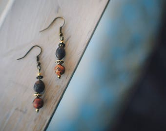 Leopard Skin Jasper and Zimbabwean Seed Bead Earrings