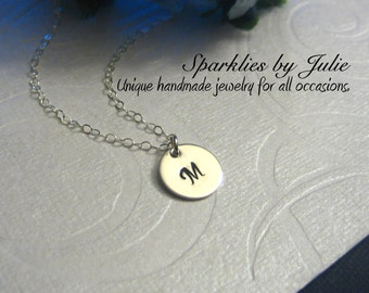 Custom Initial Necklace - Hand stamped sterling silver initial charm, ONE letter of choice, Little Dot necklace, Minimal, Modern