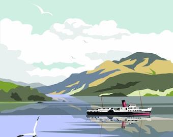 Loch Lomond, Travel Print, Scotland, Dave Thompson, Illustration.