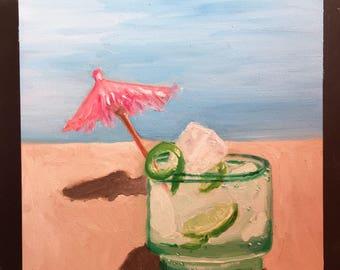 Mojito on the Beach Original Oil Painting Daily Painting