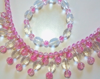 Pink Bib Necklace and Bracelet Jewelry Set, Pink Glass Bead and Clear Crystal Statement Necklace, Valentine Gift For Her, Party Jewelry