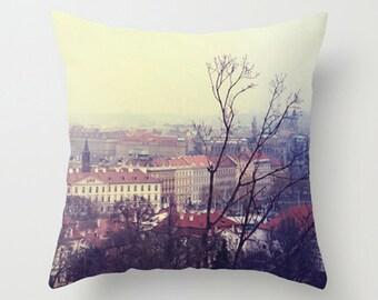 Wanderlust Accent Pillow, Travel Landscape Pillow, Red Home Decor Cushion, Winter Throw Pillow - 18x18 22x22 Cover, Prague Cityscape Cushion