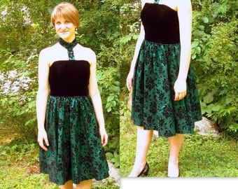 Upcycled Green and Black Prom, Cocktail Party Dress, Modern Size 8, Small