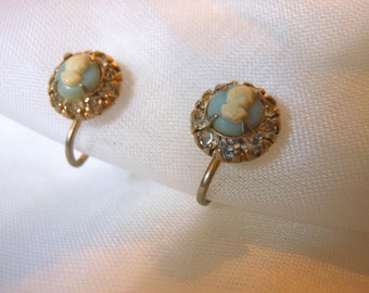 Vintage Vargas Blue and Ivory Cameo Screw Back Earrings