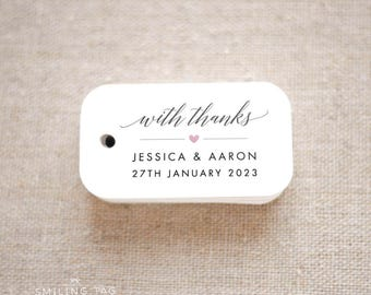 With Thanks Wedding Favor Tags - Personalized Gift Tags - Bridal Shower - Thank you tags - Party Tags - Favor Bag Tag (Item code: J695)