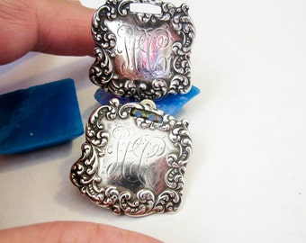 Earrings Luggage Tags Converted 1900 Sterling, Antique, USA, Art Nouveau, Victorian.