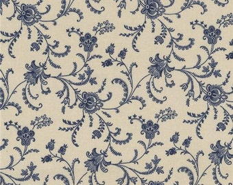 211673 tan fabric with navy blue flower leaf design by Timeless Treasures