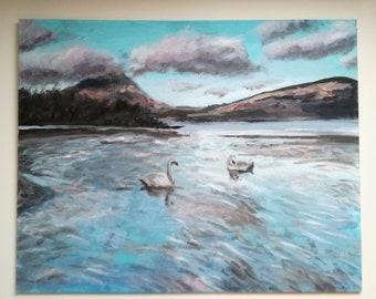 "Original Swans on loch Lomond canvas 16"" by 20"""